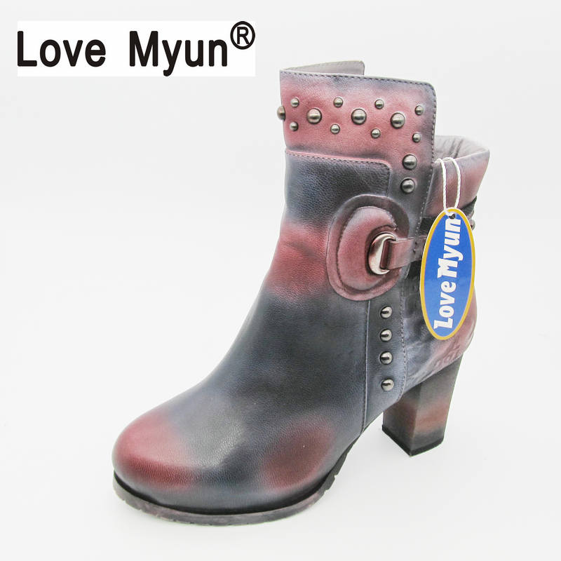 hot Women Fashion Vintage Genuine Leather Shoes Female Spring Autumn Platform Ankle Boots Woman Lace  Casual Boots rivet men suede genuine leather boots men vintage ankle boot shoes lace up casual spring autumn mens shoes 2017 new fashion