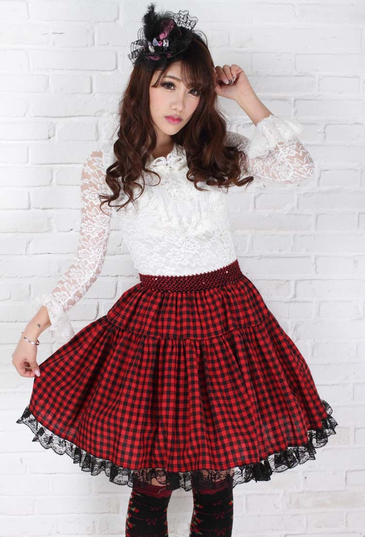 Women long skirts Red plaid Knee length skirts Girls Japanese Sweet plaid pleated lace hem Europe Preppy style Midi Flare skirts