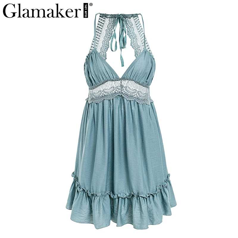 Glamaker Backless Dress ... Glamaker 7 color Lace winter dress Women bohemian spaghetti strap  sundress sexy dress Elegant backless party ...