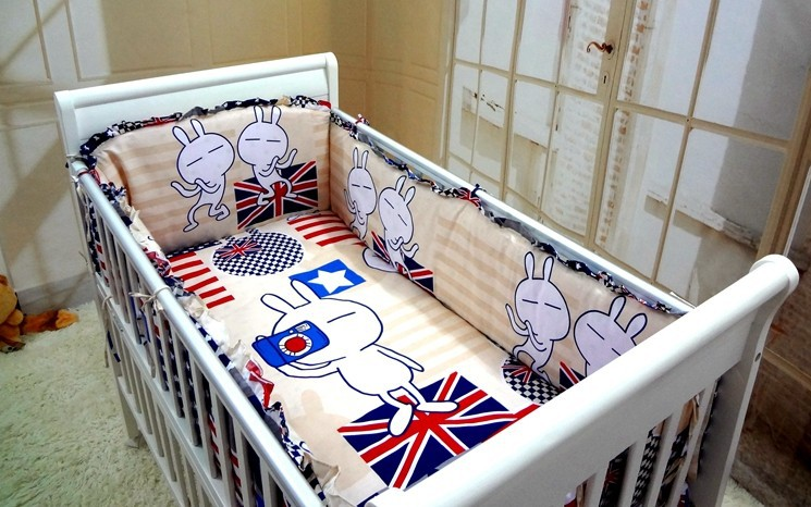 Promotion! 6PCS Baby Cot Bedding Set Character Crib Bedding Set Cotton Baby Bedclothes (bumpers+sheet+pillow cover)
