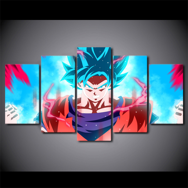 5 PCS Dragon Ball Z Pictures Poster Canvas Art Wall Decoration