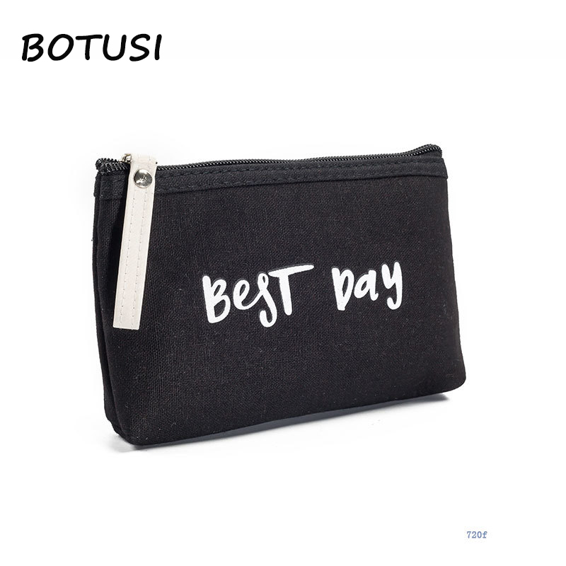 BOTUSI Best Day Mini Toiletry Bag Casual Travel Cosmetic Women Zipper Fashion Brand Makeup Bags