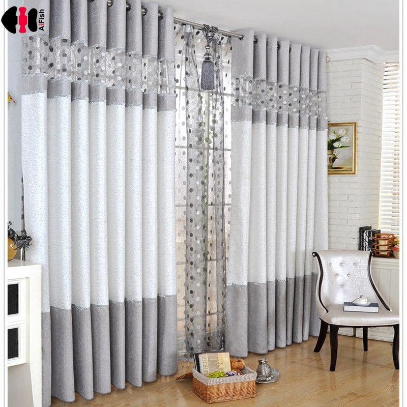 Cortinas de Chenille modernas de lujo con costura de Nido de Pájaro dormitorio sala de estar café ventana francesa tratamiento Cortinas WP221C