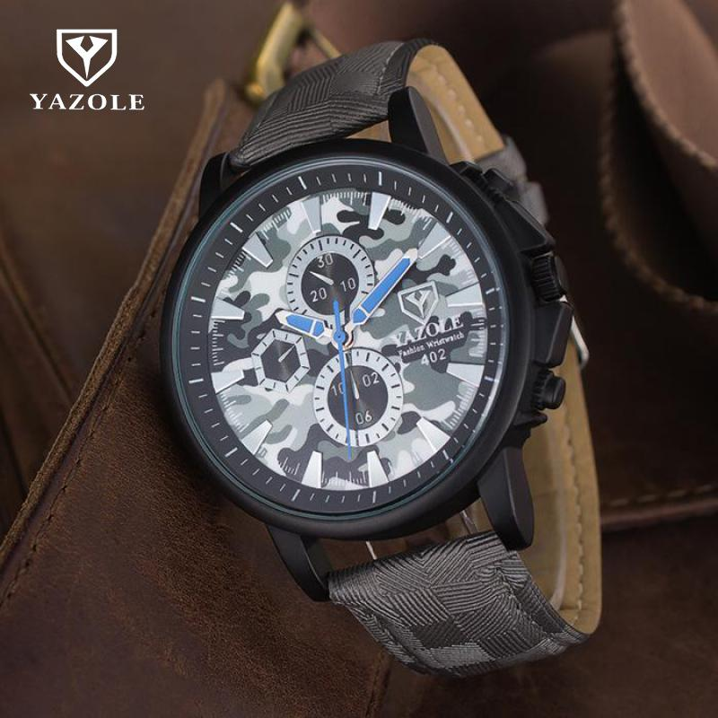 YAZOLE Camouflage Military Army Sport Running PU Leather Waterproof Quartz Wrist Watch Wristwatches for Men Boy 402 1set 100%new am fm stereo am radio kit diy cf210sp electronic production suite