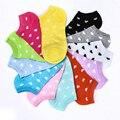 Women Cute Slippers Boat Heart Print Cotton Fashion Socks Candy Color Sock