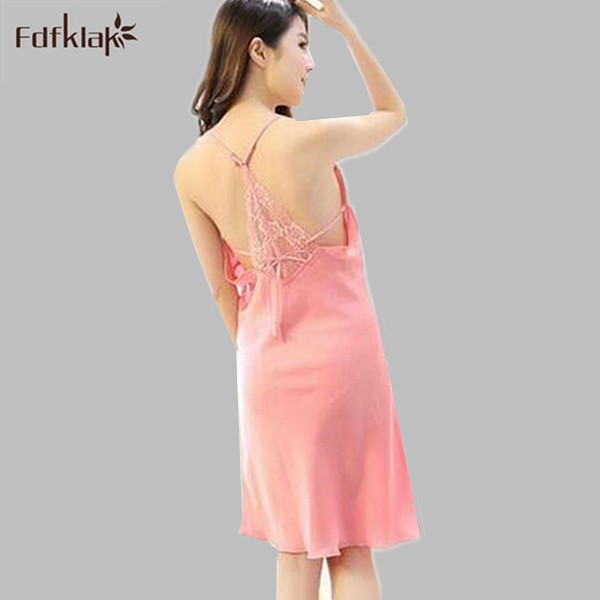 1a8c364d23 2017 New spring summer dress female silk underwear sexy backless nightdress  for women nightgown sleepwear night shirts S0065-in Nightgowns   Sleepshirts  ...