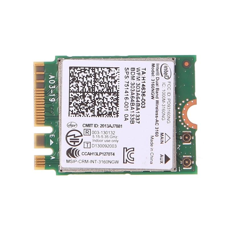 Intel Dual Band Wireless 802.11 AC 3160 NGW Next Generation Form Factor Bluetooth 4.0 Wifi WLAN Card