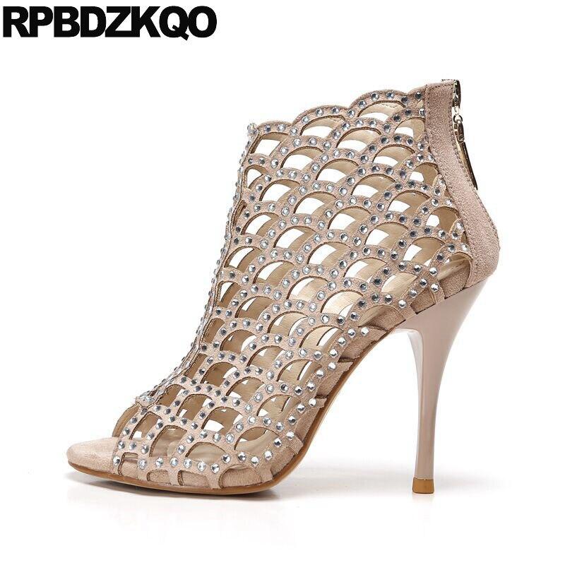 Pumps Runway Shoes Boots Peep Toe Booties Cage High Heels Designer Sandals Women Luxury 2017 Summer Stiletto Rhinestone Big Size