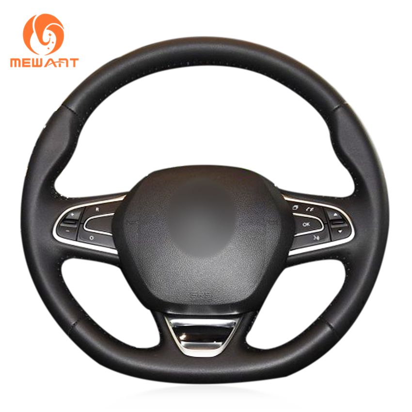 MEWANT Black Artificial Leather Car Steering Wheel Cover for Renault Kadjar Koleos Megane Talisman Scenic 2016 2017
