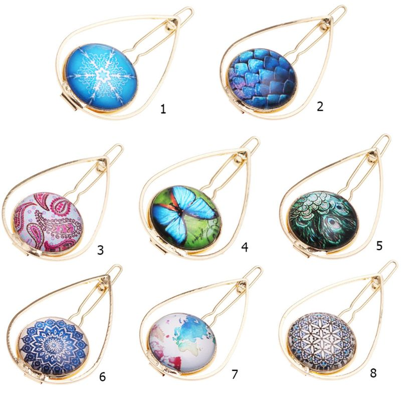 Women Girl Metal Alloy Water Drop Shaped Hair Clip Jewelry Glass Dome Snowflake Butterfly Pattern Hairpin Ponytail Updo Barrette in Women 39 s Hair Accessories from Apparel Accessories