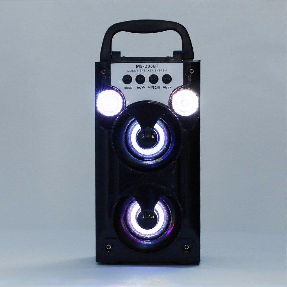 MS-206BT Outdoor Handheld Bluetooth Wireless Speaker Portable Loudspeaker Support FM Radio TF Card LED Shinning