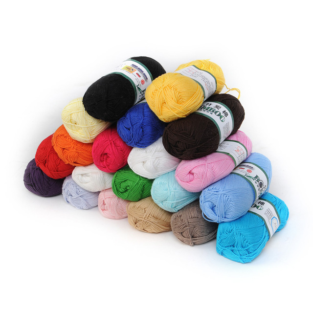 Wholesale! Soft Smooth Textile Sewing Fabric Natural Bamboo Cotton Knitting Yarn Fingering 20 Colors