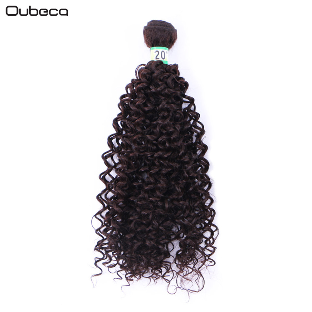 oubeca 16 18 20inch One Bundle 70g Kinky Curly Black Hair Weaving Heat Resistance Synthetic Weave Sew In Hair Extensions