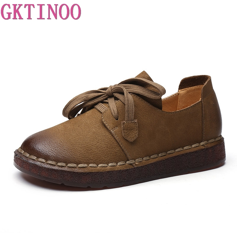 GKTINOO 2020 Lace-up Loafers Casual Flat Shoe Pregnant Women Shoe Mother Driving Shoe Female Women Flats Hand-Sewing Shoes