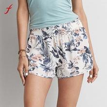 Women Sexy Hot Pants Summer Casual Shorts Floral Printing High Waist Drawstring Print Short Pant Women
