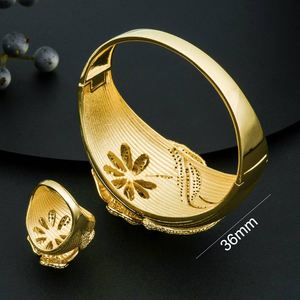 Image 3 - ModemAngel Fashion Design Flower Shape Jewelry Accessories Bangle And Ring Set for Women 3 Tones High Quality Gift