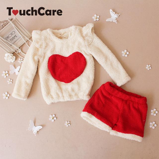 Conjuntos de Roupas de Natal das crianças Novas de Inverno Amor Padrão Babados Blusa + Shorts Ternos Meninas Bonitos Frete Grátis