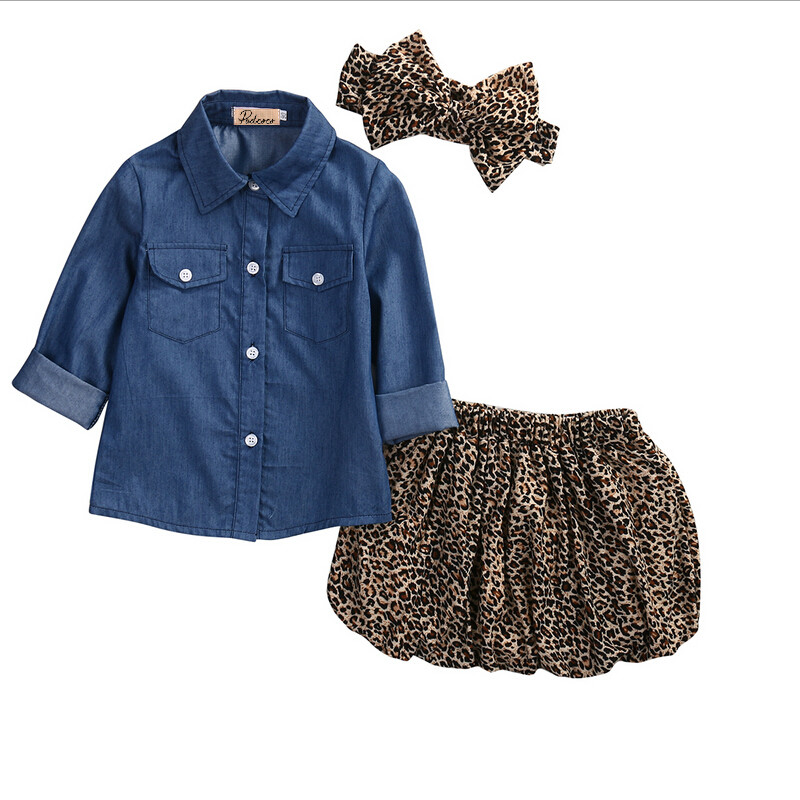 3PCs Baby Girls Cowboy Denim shirt +Leopard Skirt +headband Sets Clothes Summer Kid Long Sleeve Tops Mini Skirts Clothing Outfit infant tops pants love pattern headband baby girl outfit set clothing 3pcs kid children baby girls clothes long sleeve