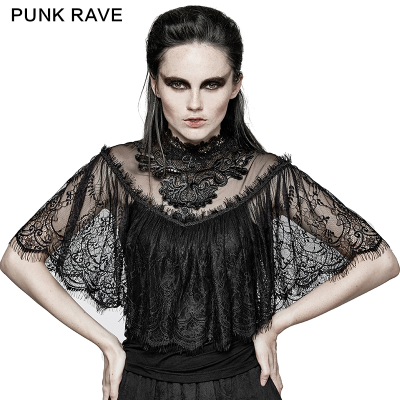 Punk Rave Steampunk Retro <font><b>Women</b></font> <font><b>Sexy</b></font> <font><b>Shirt</b></font> Evening Party <font><b>Gothic</b></font> Lace Shawl T-<font><b>shirt</b></font> Hollow Out with Cape Tops <font><b>Shirt</b></font> image