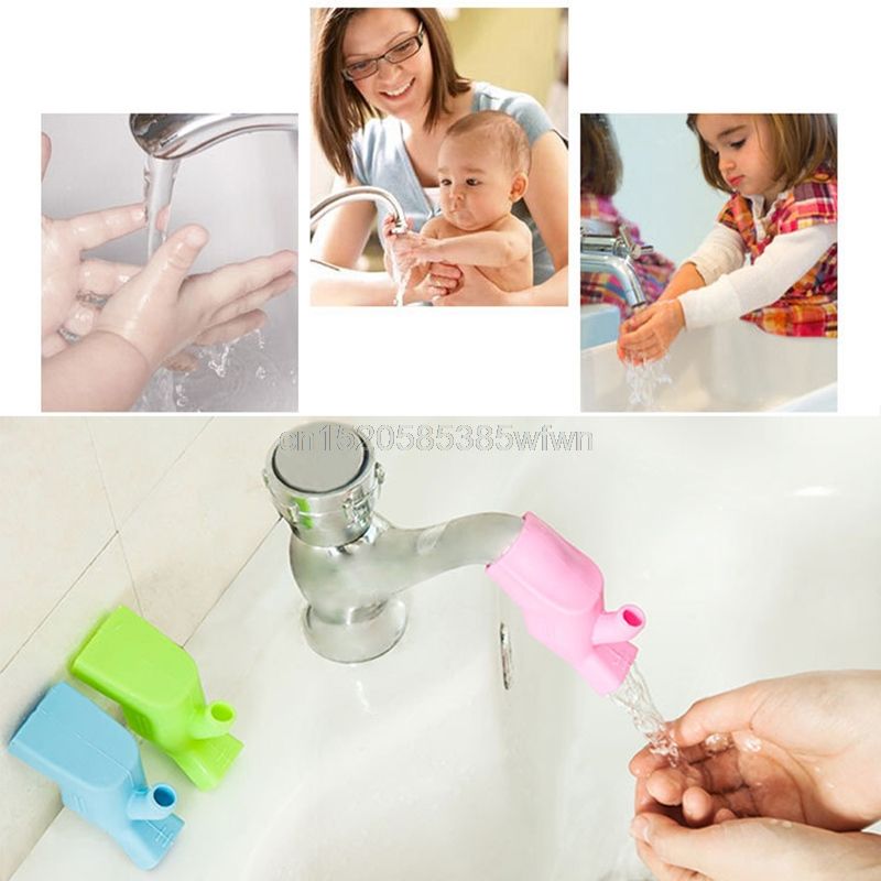 Silicone Bathroom Washing Faucet Extender Helps Kids Baby reach faucet Gargle #HC6U# Drop shipping