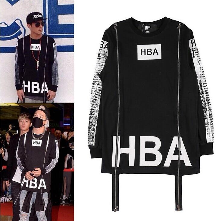 2017 HBA Men s Hip Hop Sweatshirts Zipper Design Men Long Sleeve Casual Shirt Pullover Hood