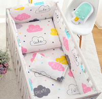7PCS full Set Cloud Baby Cirb Bedding Set Nordic Style Children Bedding Set Baby Crib Bumper Sets  (4bumper+sheet+duvet +pillow)