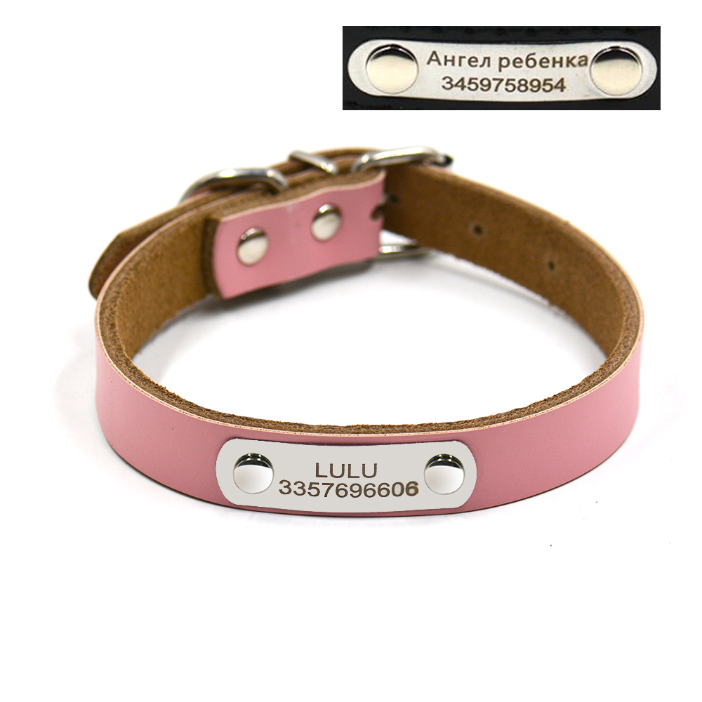 Genunie leather dog collar free engraving DIY dog tag ...
