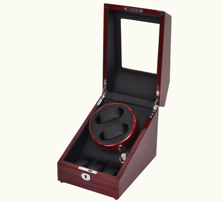 High End Mute Motor Watch Winder with Self winding Wood Watch Box for 2 Watches With