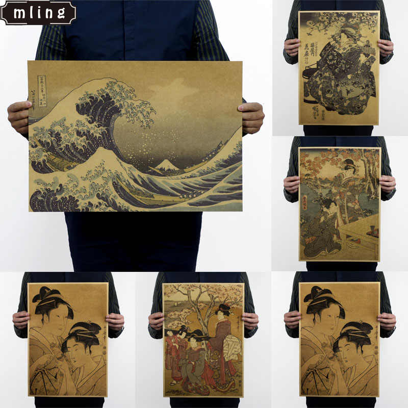 1PC 51.5x36cm Nostalgia Japanese Old Style Kraft Paper Vintage Poster Wall Poster Art Crafts Cafe Bar Decor Sticker Retro Poster
