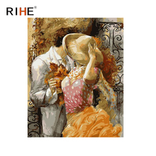 RIHE Romantic Oil Painting By Numbers Kissing Lovers Cuadros Decoracion Acrylic Paint On Canvas For Artwork Modern Home Decor