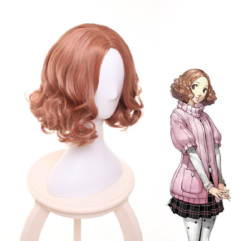 IHYAMS Anime Game Persona 5 Haru Okumura Cosplay Wig Halloween Play Short Curly Wig Party Stage Synthetic Hair