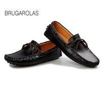 BRUGAROLAS-2017 Yeni Yaz Bahar Erkekler Sürüş Ayakkabı Loafer'lar su geçirmez Gerçek Deri Tekne Ayakkabı Nefes Erkek Casual Flats