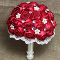 High Quality Handmade Beaded Brooch Silk Bride Bridal Wedding Bouquet Bridesmaid Europe Us Red Rose Artificial Flower