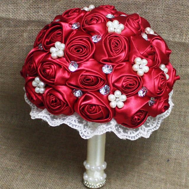 High Quality Handmade Beaded Brooch Silk Bride Bridal Wedding Bouquet Bridesmaid Europe Us Red Rose Artificial Flower