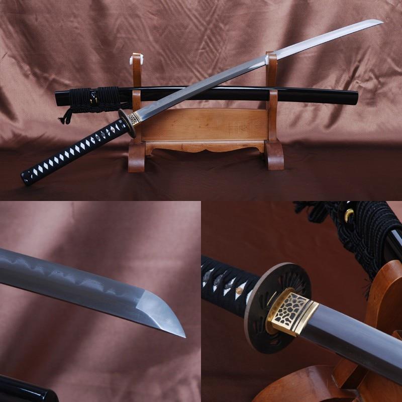Handmade Argilla Acciaio Piegato Temperato 32768 Strati Pieno Tang Sharp Lama Giapponese Samurai Spada Katana Casa D'epoca In Metallo Decor