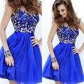 Moda vestido Formal Senhora Mulheres Rendas De Casamento Bola Prom Curto Breve Do Vintage Maxi Vestido Azul Da Dama de honra Sexy