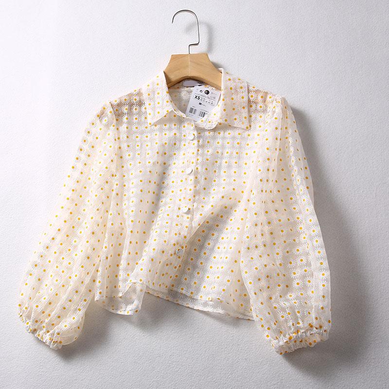 2019 Stylish Breathable Flower Organza Shirt Women Blouse Shirt Modis Vadiming Sheining Zaraing Women Blouse Kimono