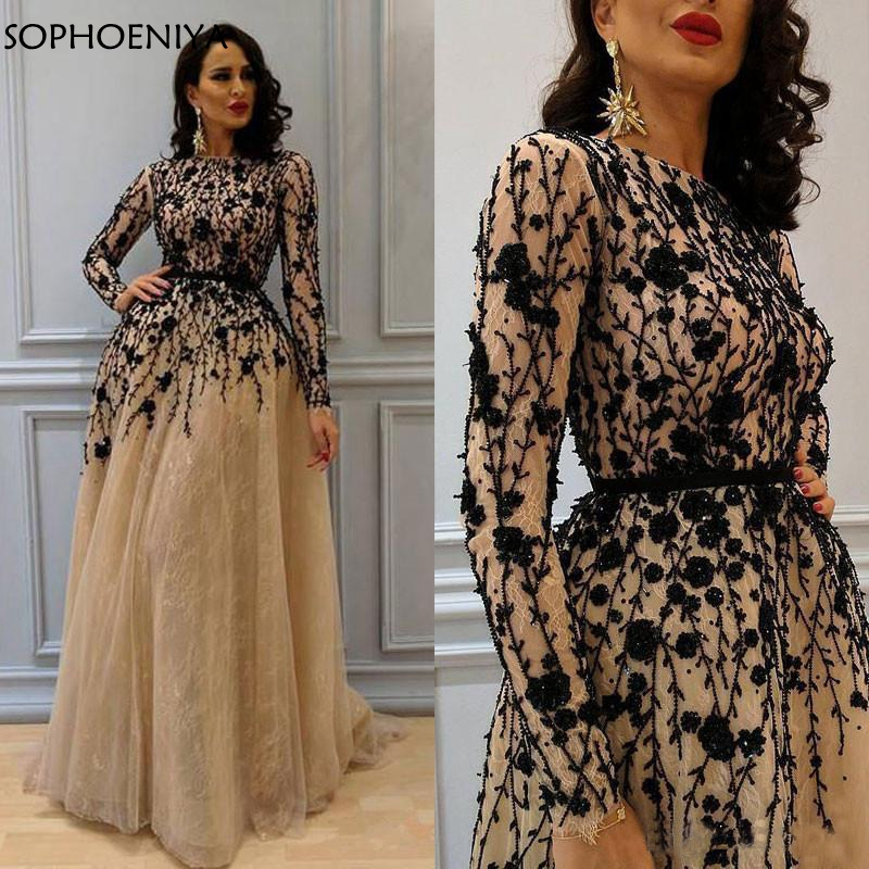 New Arrival Long sleeve   evening     dresses   2019 Champagne Lace   Evening   gowns Black Crystals Beading Formal   dress   Party abendkleider