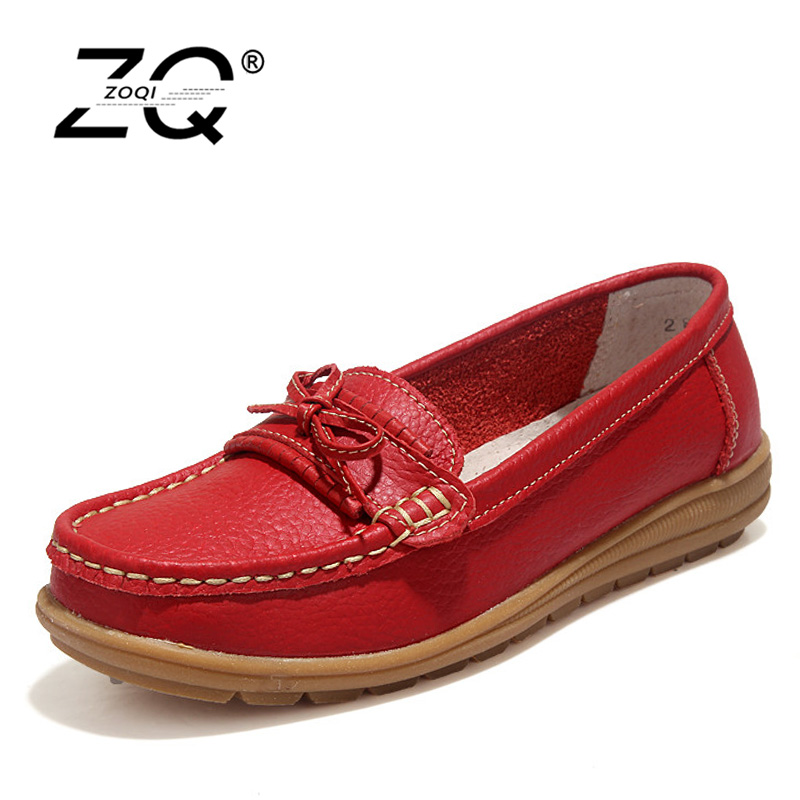 ZOQI Shoes Woman 2018 Genuine Leather Women Shoes Flats 4Colors Loafers Lace Up Women's Flat Shoes Moccasins PW002 zoqi shoes woman candy colors genuine leather women casual shoes 2018fashion breathable slip on peas massage flat shoes size 44