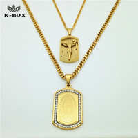 24K Gold Plated Mens Iced Out Jesus Cross Pendant 30 Inch Franco Chain 2 Necklace Set