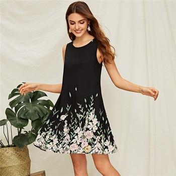 Boho midi floral black dress