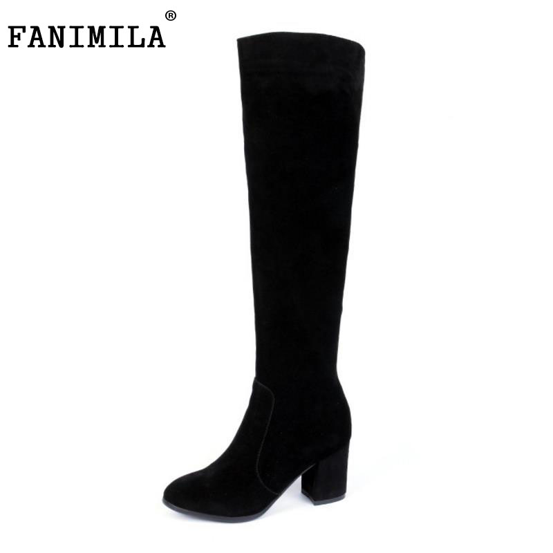 FANIMILA Women Genuine Leather Over Knee Boots Zipper High Heel Boots Warm Fur Shoes For Winter Botas Women Footwears Size 35-39 купить