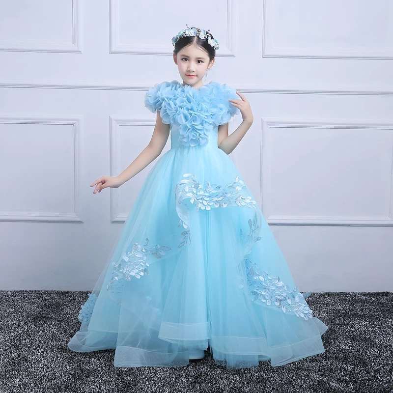 Children Girls Luxury Model Show Catwalk Pageant Tail Princess Prom Dress 2019Summer Elegant Kids Teens Evening Birthday DressChildren Girls Luxury Model Show Catwalk Pageant Tail Princess Prom Dress 2019Summer Elegant Kids Teens Evening Birthday Dress