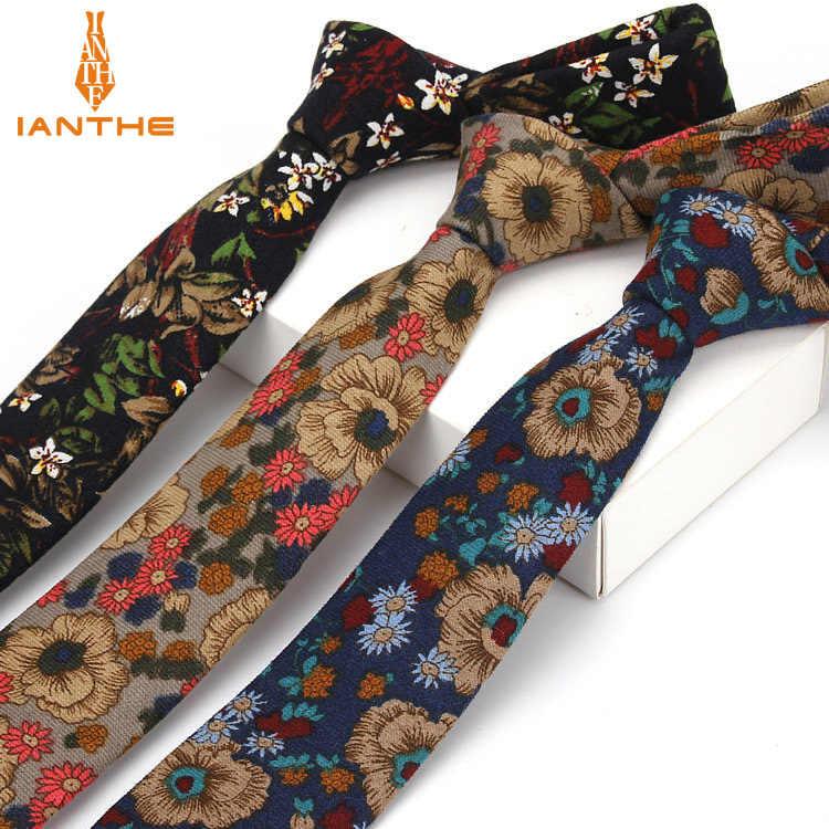 Moda Bağları Erkekler için Rahat Pamuk Boyun Kravat Düğün Kravat Kravat Iş Erkekler Sıska Ince Klasik Baskı Kravat kravat