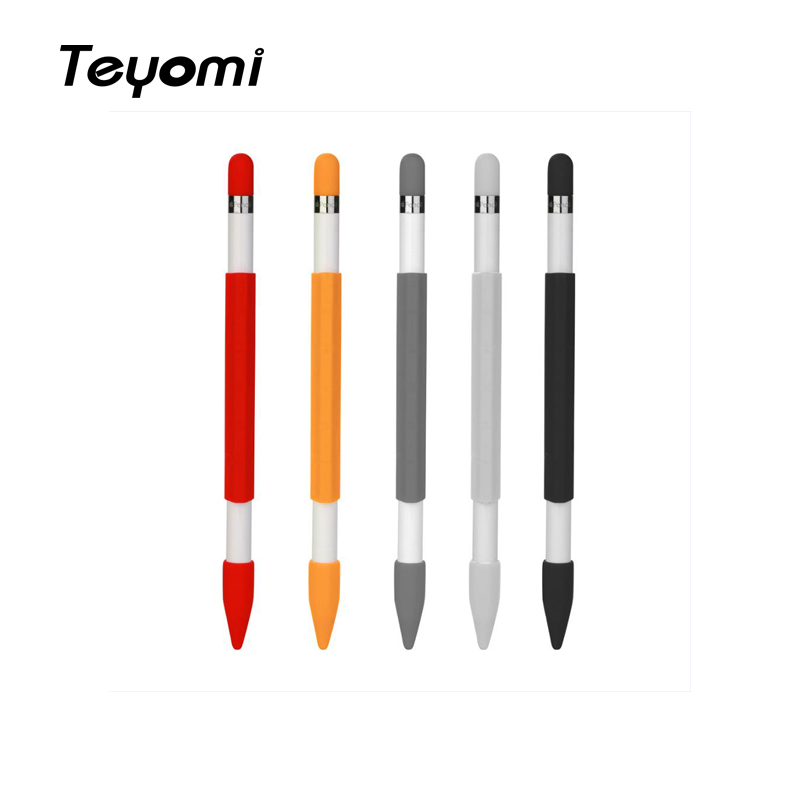 Teyomi Soft Silicone Magnetic pencil case Sleeve Cover With Pencil Cap and Nib Cover for Apple Pencil Accessory in Tablet Touch Pens from Computer Office