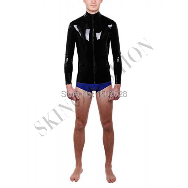 Черная мужская с длинным рукавом резиновые топы футболки из латекса 0,4 мм без трусов