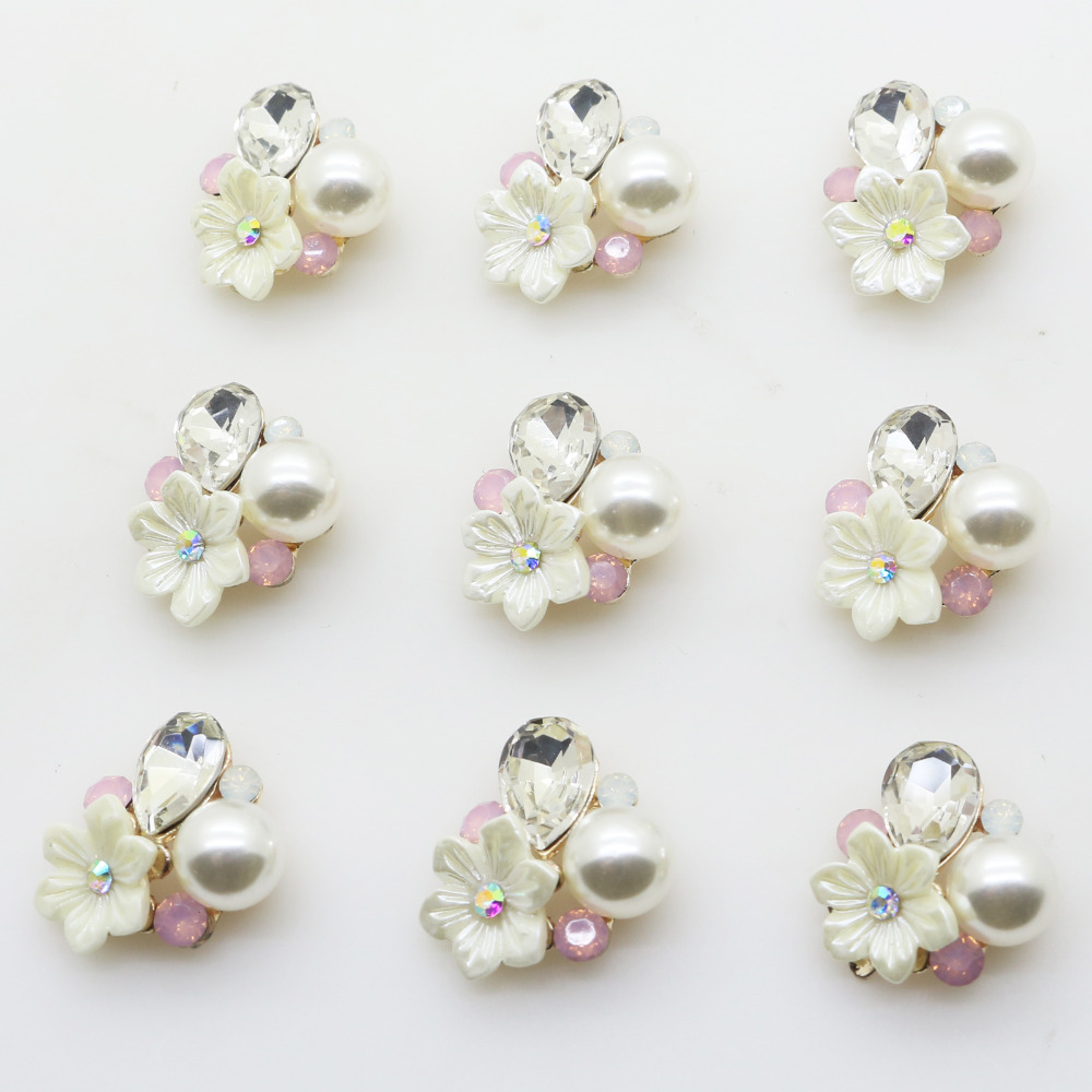 10pcs/lot 20mm Pearl Rhinestone Metal Flower Diy Jewelry Findings Accessories Embellishment For Jewelry Making DIY Accessories