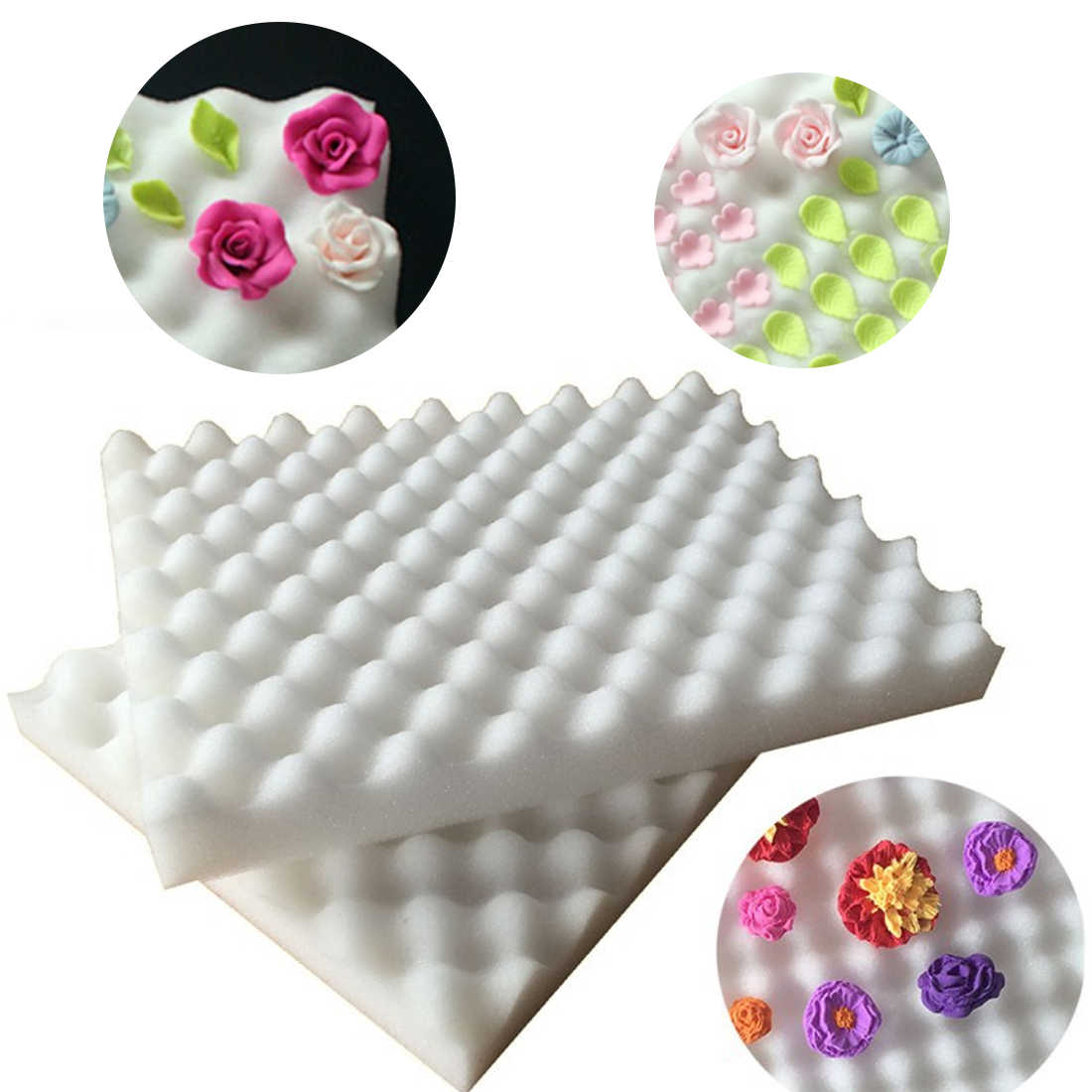 Hot 2Pcs Drying Fondant Flower Cake Tools Foam Dry Sponge Pads Cake Mold For Kitchen Baking Pastry DIY Sugarcraft Decoration