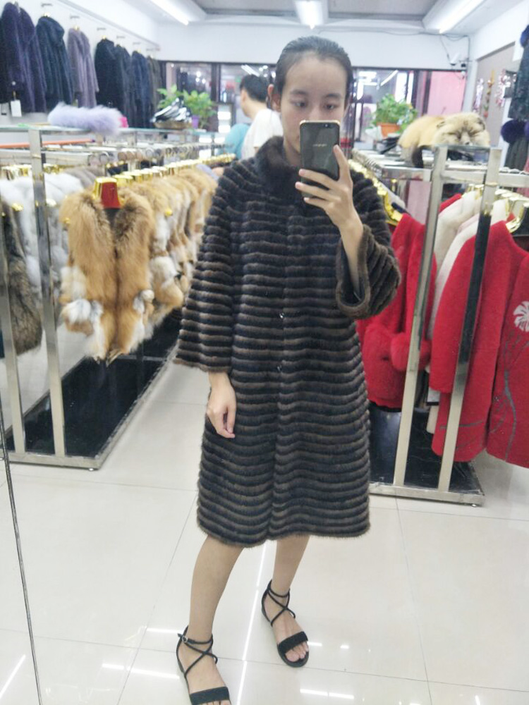 Manteau de fourrure de vison véritable vison horizontal vison velours tricoté pull en cachemire long veste femme d'engraissement sur mesure