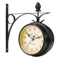 Charminer Metal Frame Glass Dial Cover Double Sided Round Wall Mount Station Clock Garden Vintage Retro